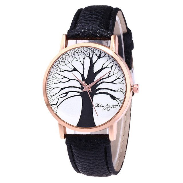 Hot Retro Women Watches PU Leather Band Analog Quartz Wrist Watch Clock Simple C