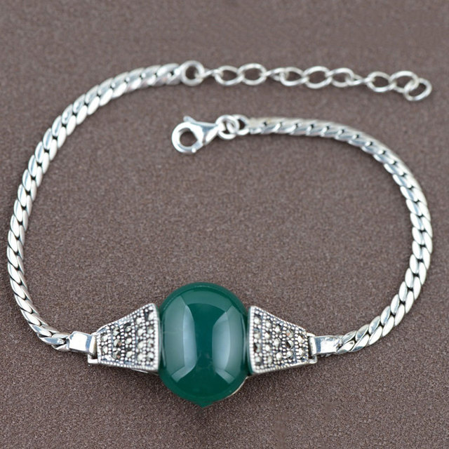 GZ 925 Sterling Silver Bracelet Natural Green Agate Opal S925 Thai Silver Chain Bracelets for Women Jewelry Synthetic Garnet