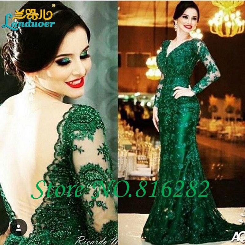 изумрудно-зеленый кружева русалка мать невесты платья большой размер v шеи с длинными рукавами суд поезд вечерние платья vestido noche