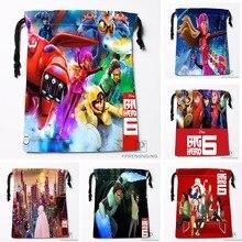 Custom Big Hero Drawstring Bags Travel Storage Mini Pouch Swim Hiking Toy Bag Size 18x22cm#0412-03-04