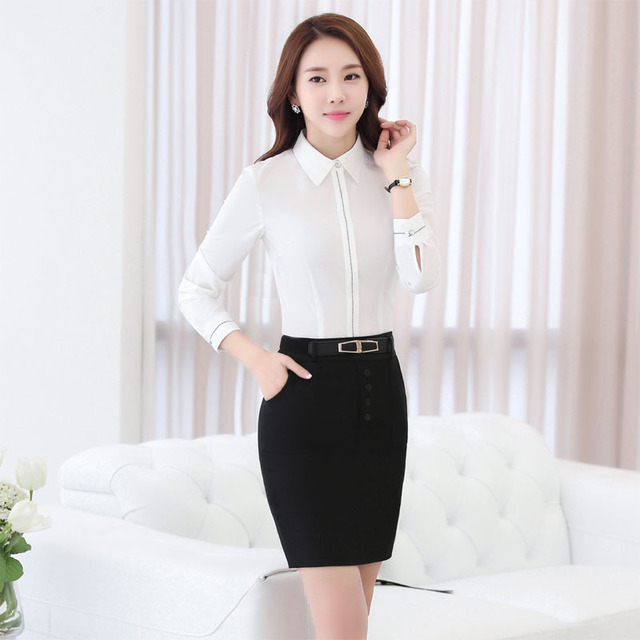 New Elegant White Professional Work Suits Formal OL Styles Spring Autumn With 2 Piece Skirt And Blouses Ladies Office Sets
