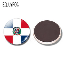 Dominican Republic Flag 30 MM Fridge Magnet Dominican Map Glass Dome  Magnetic Refrigerator Stickers Note Holder