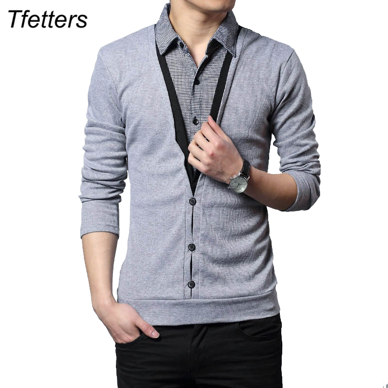 TFETTERS Autumn Clothes Fashion Men T shirt Thick Long Sleeve Patchwork Knitted Shirt Collar False Two Design Tops for Men 5XL-in T-Shirts from Men's Clothing on AliExpress - 11.11_Double 11_Singles' Day 1