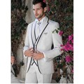2016 Custom Made Silm Fit White Groom Wedding Suits Tuxedos Suits Jacket Pants Vest Business Suit Formal Suit