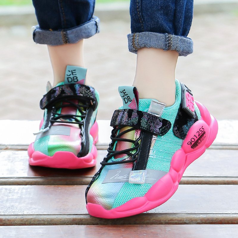 ULKNN Children 39 s sports shoes 2019 new autumn 6 big kids mesh breathable 8 boys fashion net red 10 years old school girls black in Sneakers from Mother amp Kids
