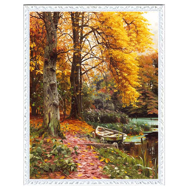 Needlework DIY DMC 14CT unprinted Cross stitch kits For Embroidery River in Autumn Counted Cross-Stitching embroidered crafts