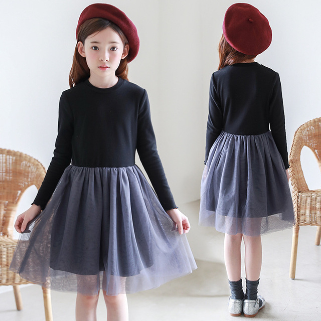 5462b6c2f986 teenage autumn kids casual clothes black patchwork little girl party ...
