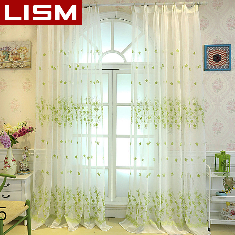 LISM Embroidered Curtains Sheer Tulle For Living Room Bedroom The Kitchen Finished Voile Drapes Organza Curtain Fabric