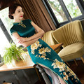 Long Qipao Dress Improvement of Chinese style Restoring Cheongsams with Elegant Printing Flowers Green Long Dress
