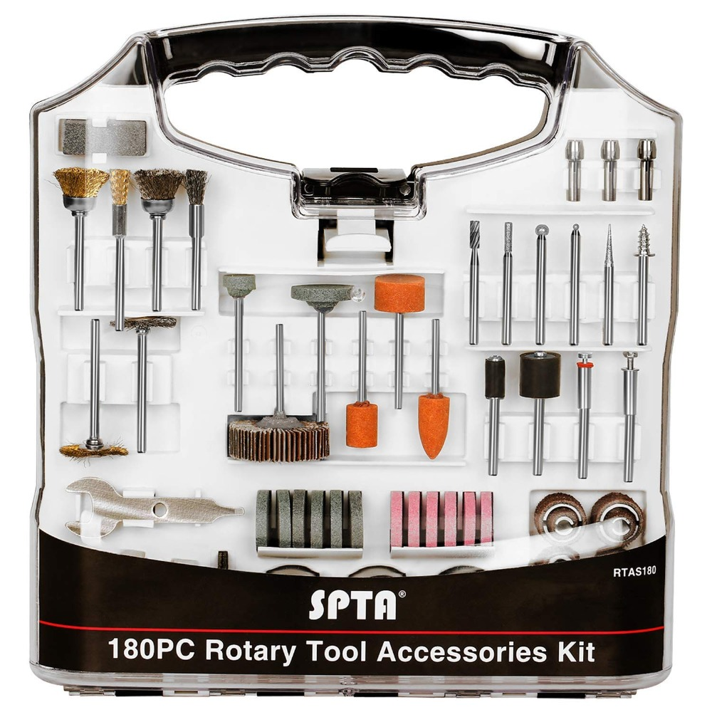 SPTA 180Pcs Rotary Tool Accessory Set With 3mm Shank- For Proxxon Dremel Rotary Tools For Cutting Grinding Sanding Polishing