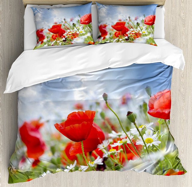 Country Decor Duvet Cover Set Idyllic Spring Meadow With Poppy And Daisy Flowers Sunny Sky Clouds Garden 4 Piece Bedding
