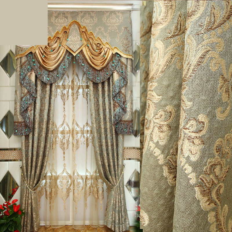 custom luxury European style curtains bedroom living room bedroom luxury Jacquard Embroidery