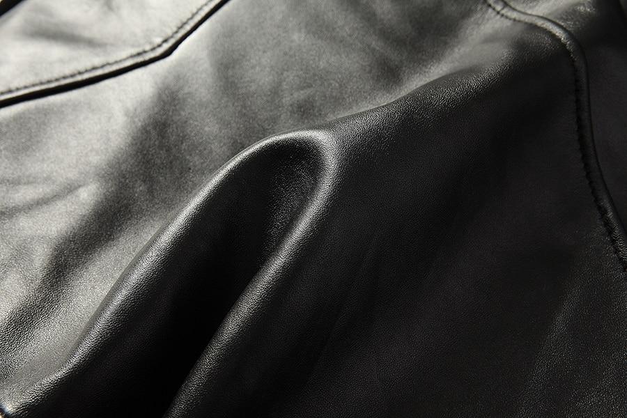 HTB1vp3BahrvK1RjSszeq6yObFXaH Free shipping.brand new black mens sheepskin jacket.classic biker soft genuine leather coat.fashion plus size style slim jackets