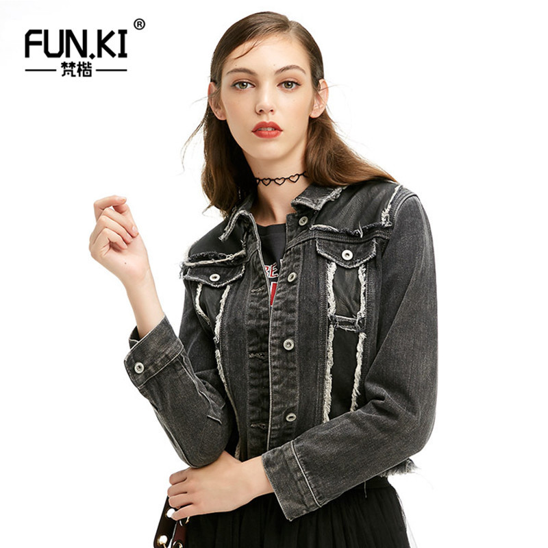 FUNKI Jeans Jacket Women 2018 Short Top Spring Autumn Denim Coat Vintage Burrs For Ladies Clothing Outwear Femme B