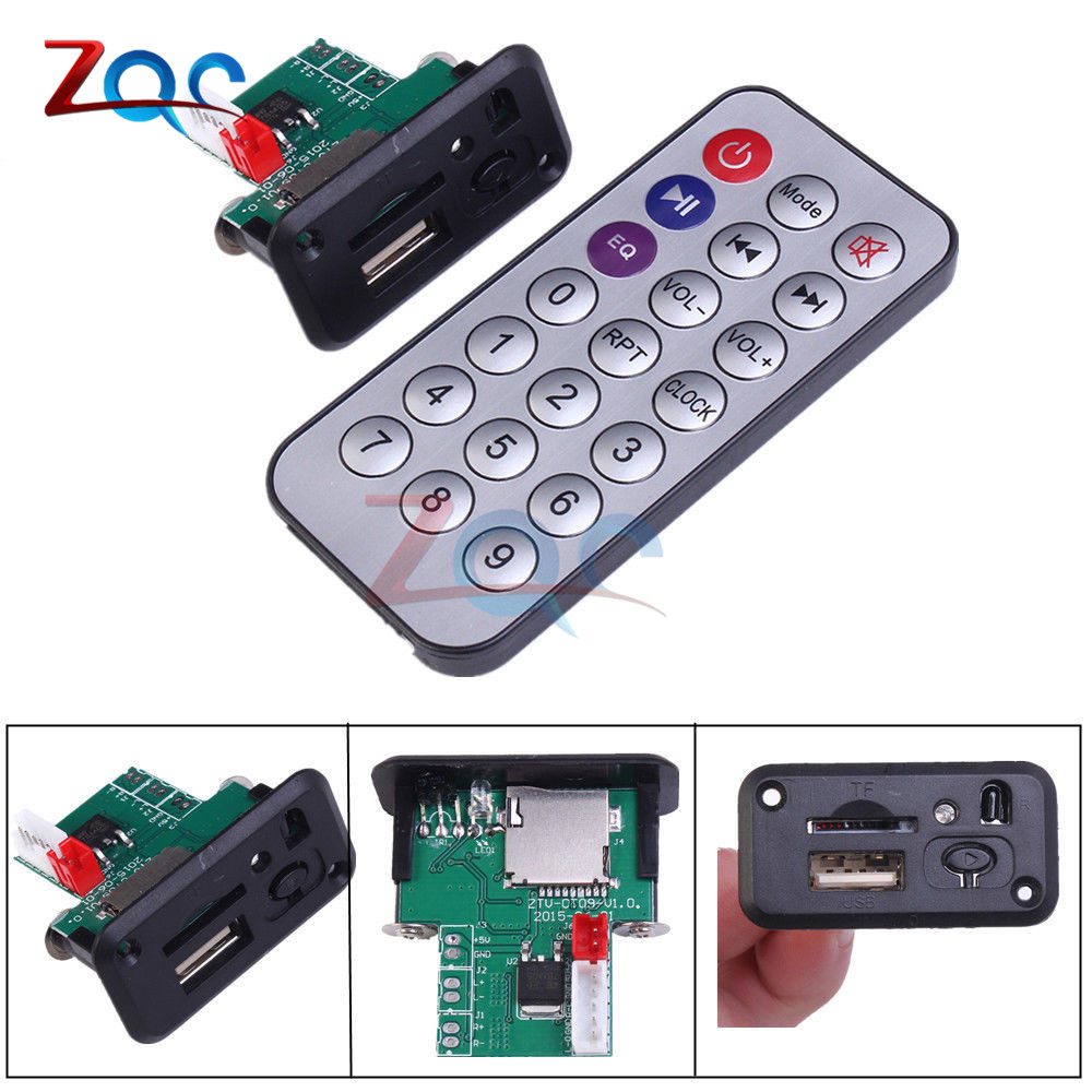 Car 5V/12V Mini MP3 Decoder Board USB TF U-Disk Reader MP3 Player Amplifier With IR Remote Controller For Arduino 5v 2 channel ir relay shield expansion board for arduino
