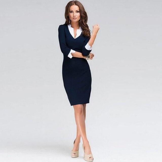 b104addd3a Czarne Sukienki Biurowe Kobiety 2018 Lato New Arrivals Moda Długim Rękawem  Pencil Dress Panie Dorywczo Sukienka