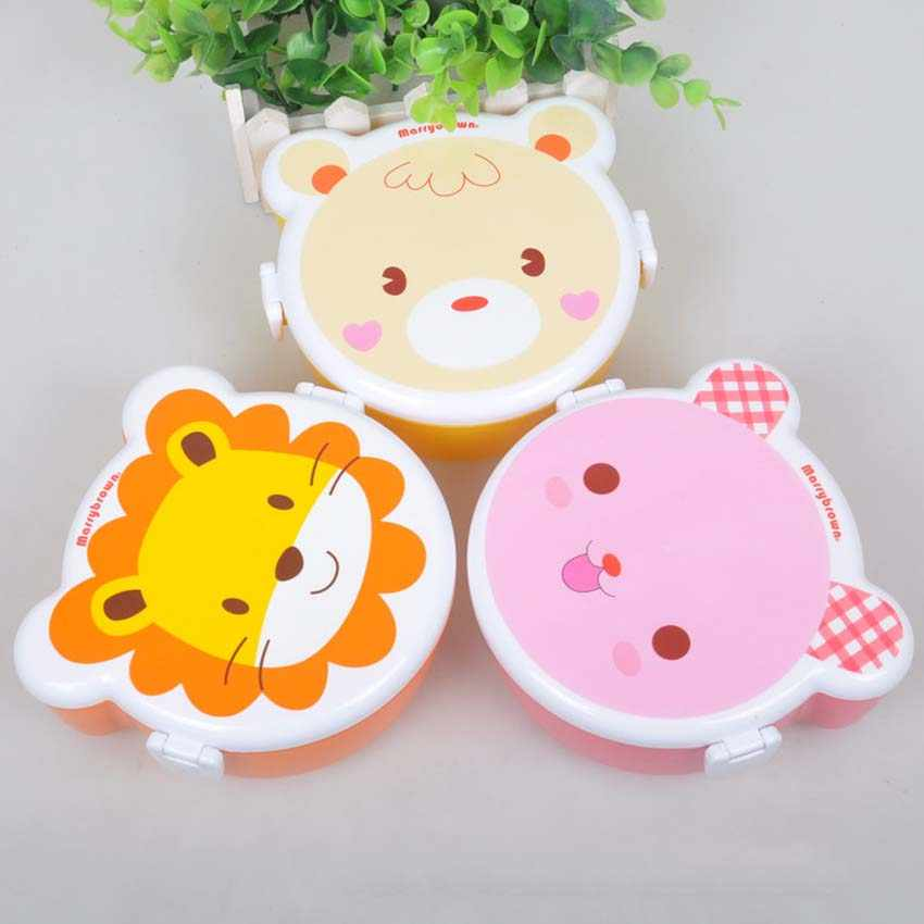 Cartoon Baby Food Dishes Bear Lion Lunch Food Fruit Storage Box Portable Children Bento Safe Picnic Food Toddler Dinnerware