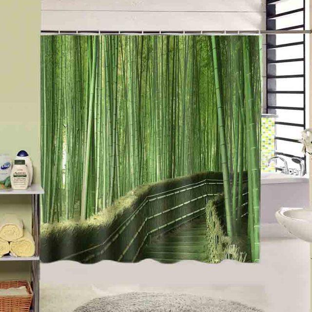 mooie groene bamboe print bad gordijn decors squre 180x180 cm hoge kwaliteit waterdichte douchegordijn uitverkoop