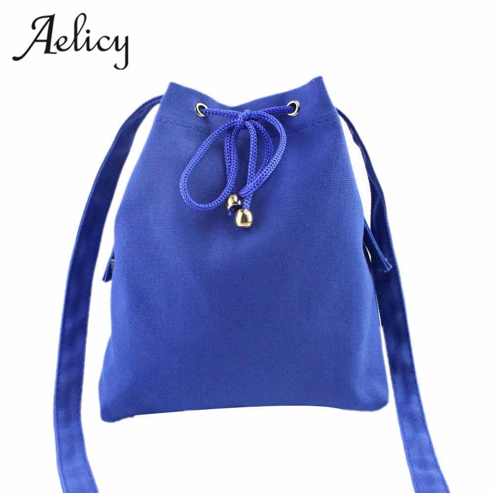 Canvas Bags Large Capacity Drawstring Bucket Bag Shoulder Handbags Casual Tote Bags Bolsa Feminina D42