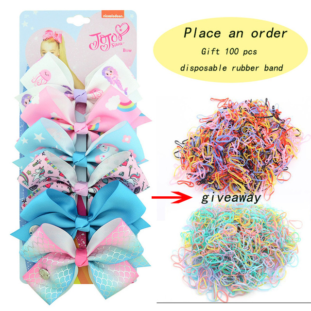 6PCS/Lot JoJo Siwa Bows 5Inch Hair Bow with Unicorn and Rainbow pattern Beautiful Hair Accessories Best Xmas Present for Girls