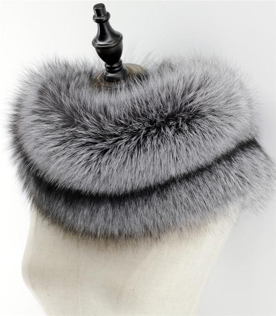 Fashion Genuine Silver Fox Fur Raccoon Fur Scarf Scarves Wraps Cowl infinity