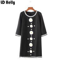 LD Helly Autumn Sweet Women Small Daisy Embroidered Dresses 2017 Fashion Hanbok O Neck Three Quarter