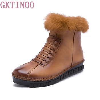 GKTINOO Genuine Leather Women Boots Platform Zip Winter Ankle Short Plush Fashion Casual Flats Shoes Size 35-40 - discount item  50% OFF Women's Shoes