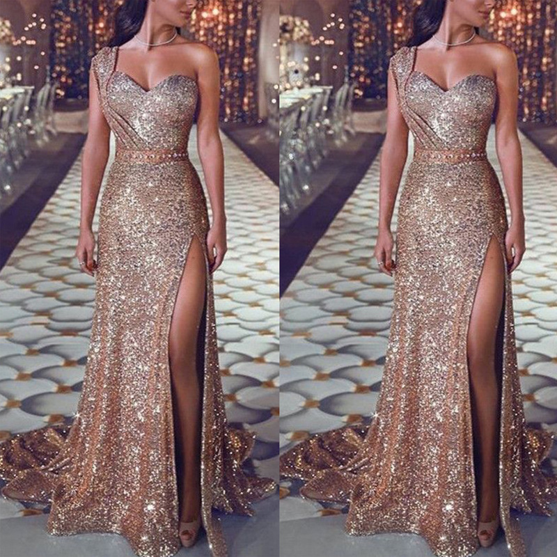 luxury maxi dresses Gold Sequined Prom Gowns One Shoulder Robe soiree Sexy High Split Evening Party formal dress women elegant