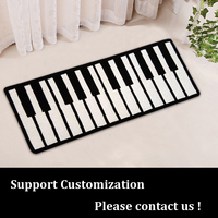 Customizable Music Piano Black And White Rug For Kid Playing Piano Chair Pad Thick Carpet Mat