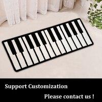 Personnalisable Musique Piano Noir et Blanc Tapis pour enfant Jouant Piano Chaise Pad Épais Tapis Tapis Rayé Tapis