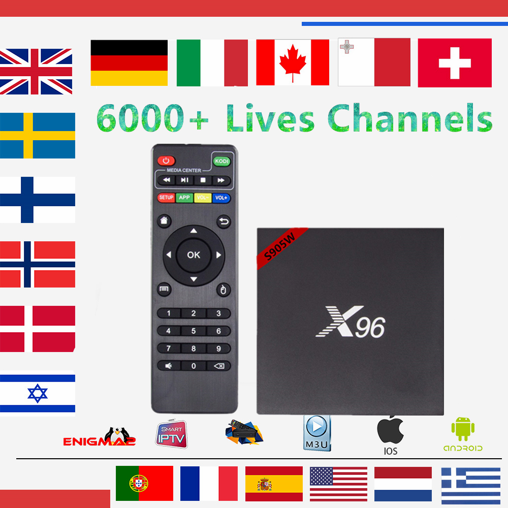 Europe IPTV Box 96 Android 7.1 TV Box S905w 1GB/8GB With 1 year iptv subscription DutchFrench Sweden Live TV for smart tv box