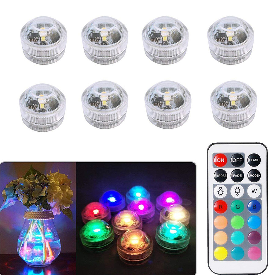Battery Operated RGB Submersible Light LED Underwater Night Lamp Outdoor Garden Party Wedding Decoration Vase Bowl Pool Light