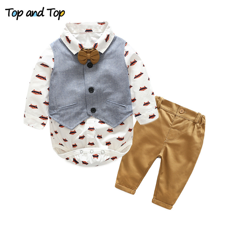 Top and Top fashion baby boys clothing sets infant clothes baby boys gentleman cotton bow tie+ rompers + vest+trousers 4pcs/set