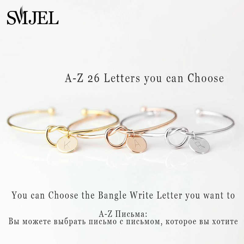 SMJEL ส่วนบุคคล Knot เริ่มต้นกำไลข้อมือ A-Z 26 ตัวอักษรเริ่มต้น Charm สร้อยข้อมือกำไลข้อมือผู้หญิงเครื่องประดับ Pulseiras