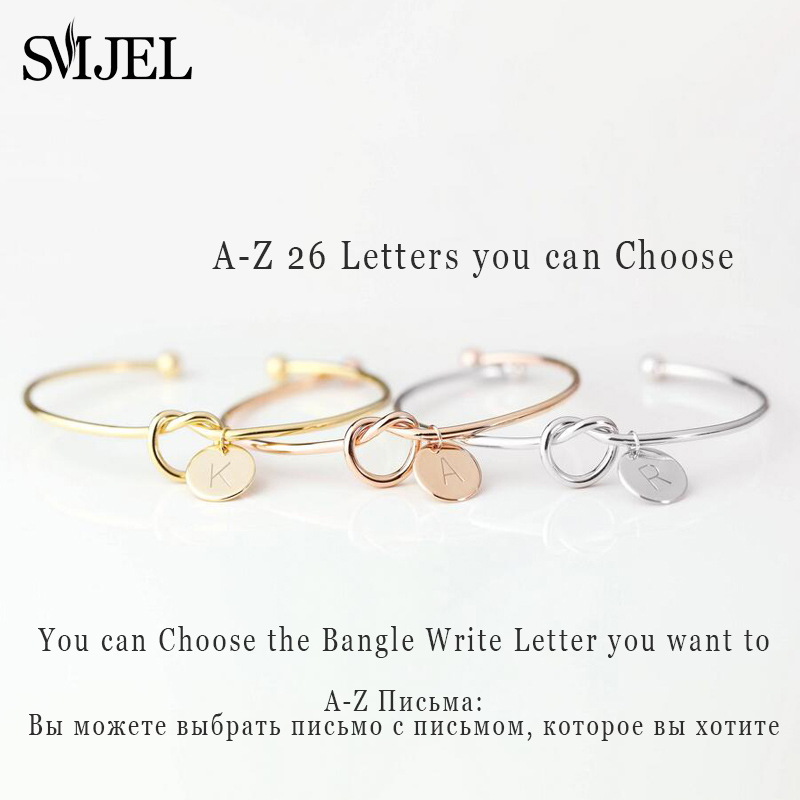 SMJEL Personalize Knot Initial Bracelets Bangles A-Z 26 Letters Initial Charm Bracelet Love Bangles for Women Jewelry Pulseiras