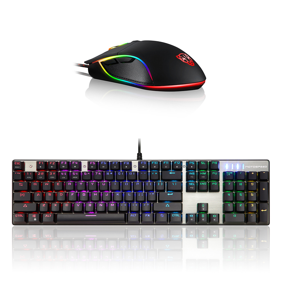 Motospeed V30 Wired USB Gaming Mouse RGB Backlight 6 Button 3500DPI Gamer PC Mice+CK104 Blue Switches Mechanical Gaming Keyboard
