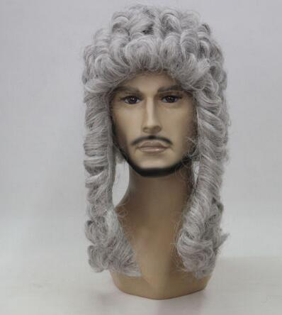 Wholesale > Hivision court judge wig lawyer barrister wig long curly gray silver men's wigs long curly green synthetic lace front cosplay party wig