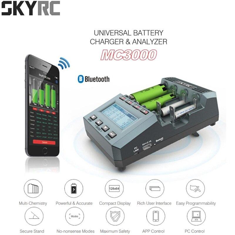 Chargeur de batterie universel Bluetooth SkyRC MC3000 18650 avec analyseur de écran LED pour batterie Ni-MH Lilo NiZn Nicd AAA RC