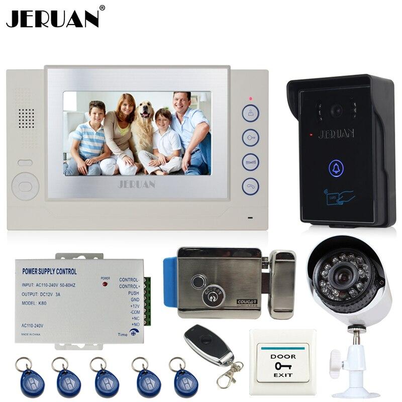 JERUAN 7 Video Door Phone Record intercom System kit waterproof 700TVL RFID Access IR Camera + 700TVL Analog Camera + E-Lock
