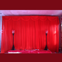 3x6 meter ice silk wedding stage backdrops decoration romantic wedding curtain with swags 2017 red stage backdrop curtain
