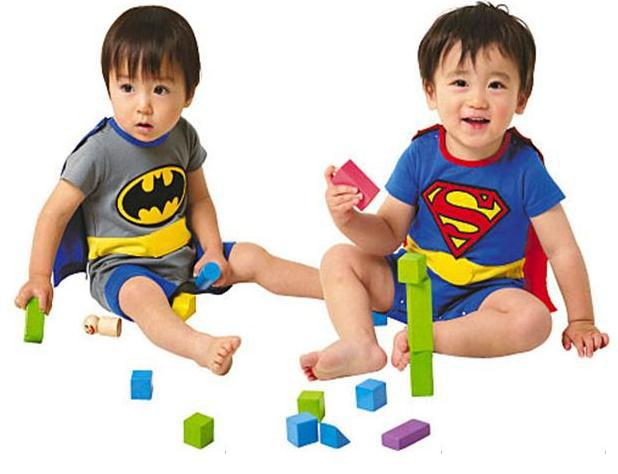 Free Ship 4 sets Baby Boy Girl Superman Romper with Dress Smock Short Sleeve Batman Romper