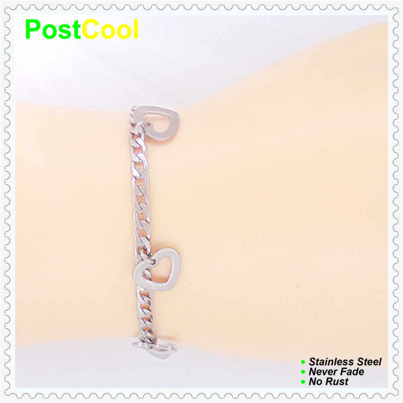 Fashion Jewelry High quality 100% Stainless Steel Charm Bracelets Anklets Lovely Heart Design never fade Chain width 4mm DIY DAE