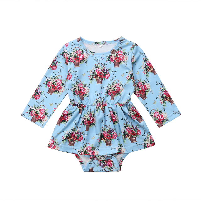 82b7a918549 Autumn cute Newborn Kids Baby Girl Floral long sleeve Romper Dress Jumpsuit  Clothes Outfits
