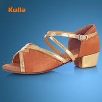 KULLA Ballroom Salsa tango latin dance shoes low heels dancing for kids girls children women ladies free shipping in stock L41
