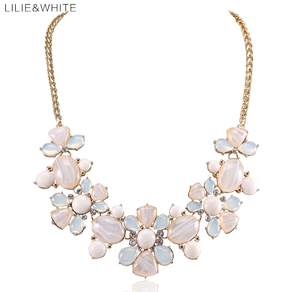 LILIE&WHITE 2017 Fashion Resin Gem Flower Maxi Statement Necklace Women Jewelry Lovers' Collar Choker Necklace For Girls HF