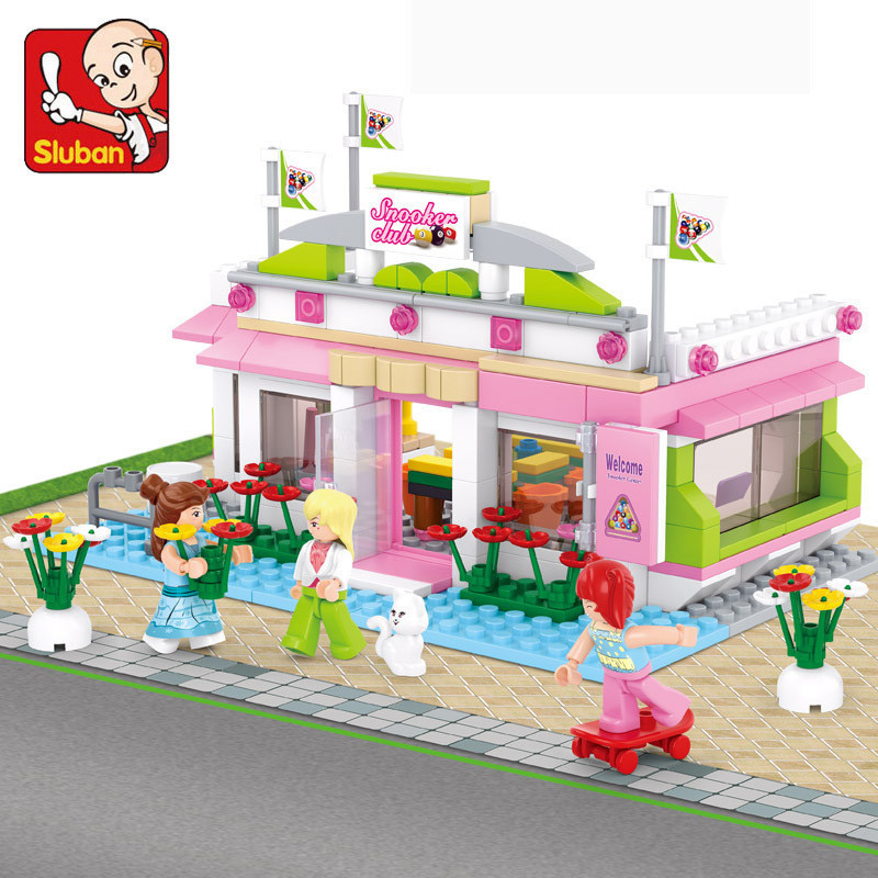 Sluban Pink Dream Building Blocks Sets Bricks Plastic DIY Enlighten Friends Toys For Children Toys China Legoe Compatible City lepin 02012 city deepwater exploration vessel 60095 building blocks policeman toys children compatible with lego gift kid sets