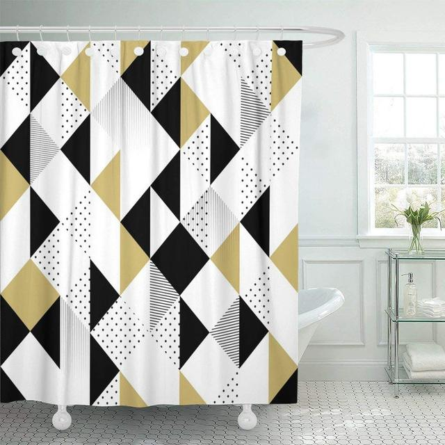 Fabric Shower Curtain With Hooks Geometric Abstract Triangles Gold Black And White Pattern Modern Chevron Elegant