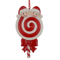 Lollipop Family Of 2 Resin Hang Christmas Ornaments With Glossy Baby Face As Craft Souvenir For