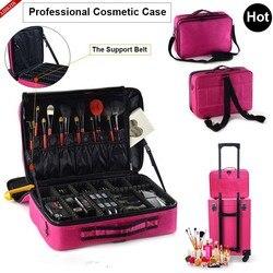 Moda feminina cosméticos saco de viagem maquiagem organizador profissional maquiagem caixa cosméticos bolsa sacos beleza caso para o artista de maquiagem