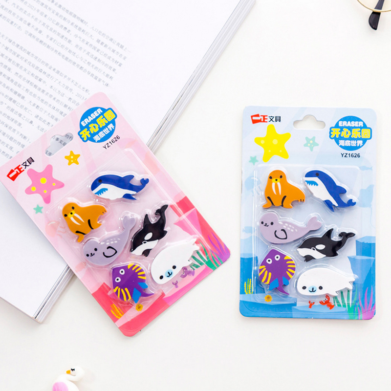 6 Pcs/set Marine Animals Eraser Whale Fish Sea Lions Shape Rubber Eraser Kawaii Stationery School Supplies Papelaria Kids Gifts